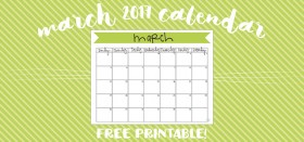 free printable monthly calendar :: march 2017