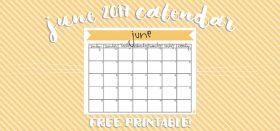 free printable monthly calendar :: june 2017