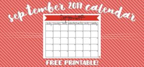 free printable monthly calendar :: september 2017