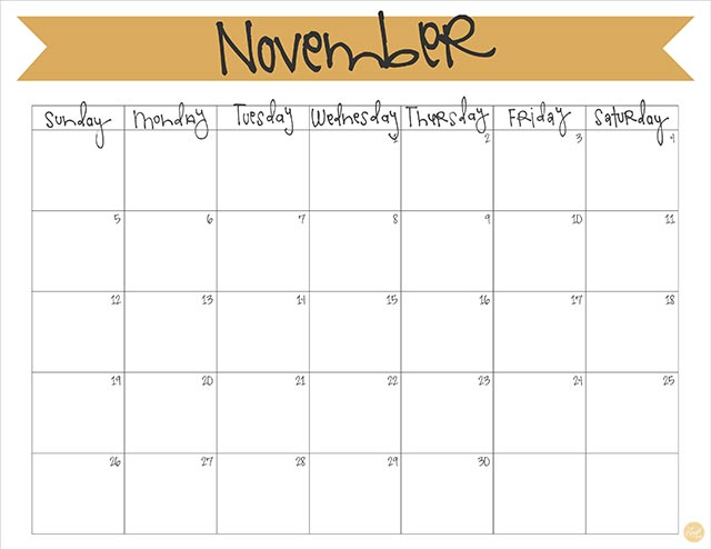 november 2017 free printable monthly calendar