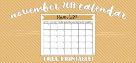 free printable monthly calendar :: november 2017