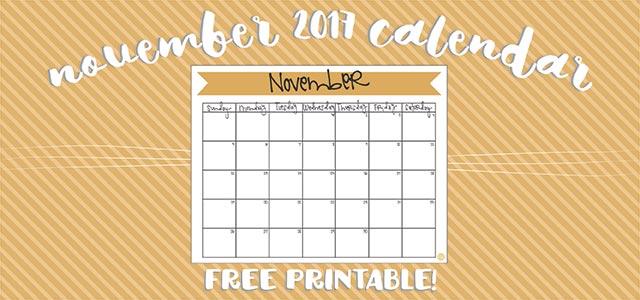 free printable calendar :: november 2017