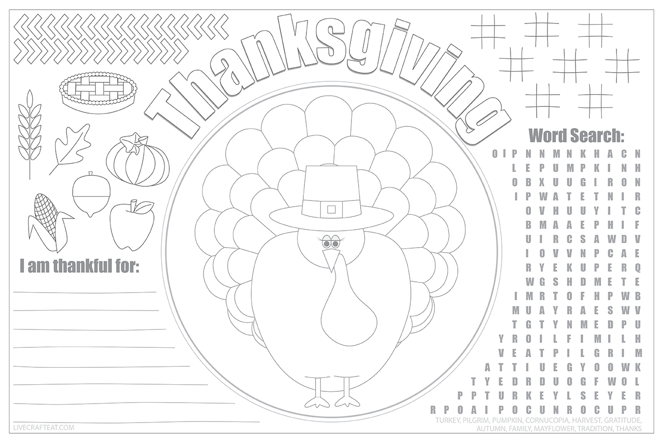 "18""x12"" free printable thanksgiving coloring & activity placemat for kids"