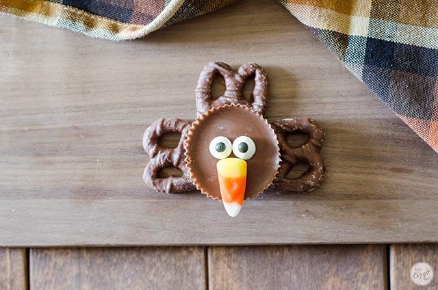 candy corn beak on chocolate turkey