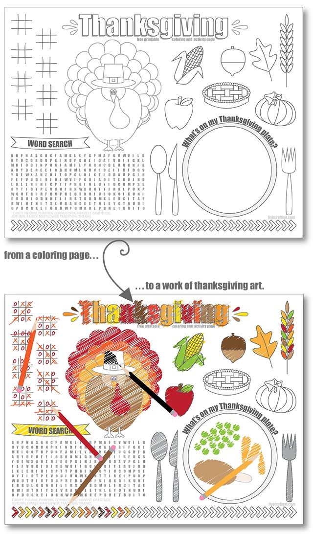 "free printable 8.5""x11"" thanksgiving coloring and activity placemat for kids"