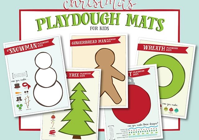 free printable christmas-themed playdough mats for kids!!