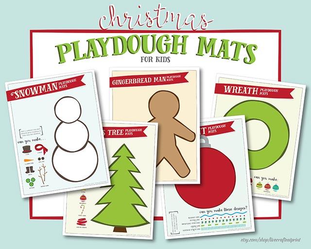 free printable christmas-themed playdough mats for kids!!