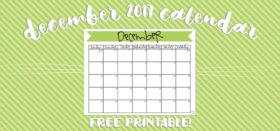 free printable monthly calendar :: december 2017