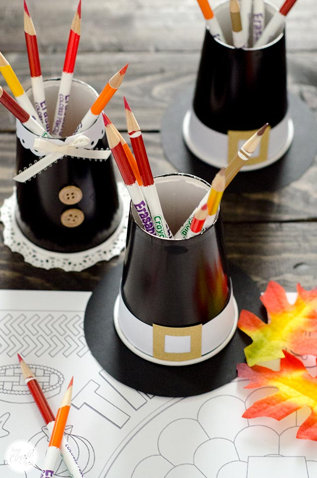 thanksgiving pilgrim hats and dresses colored pencil/crayon paper cup holders