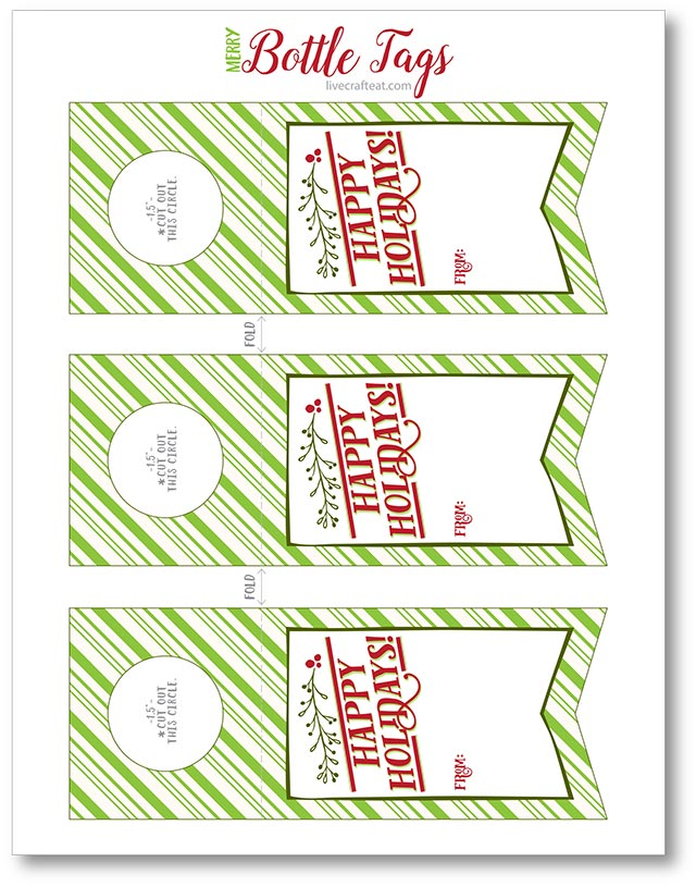 happy holidays free printable bottle tags