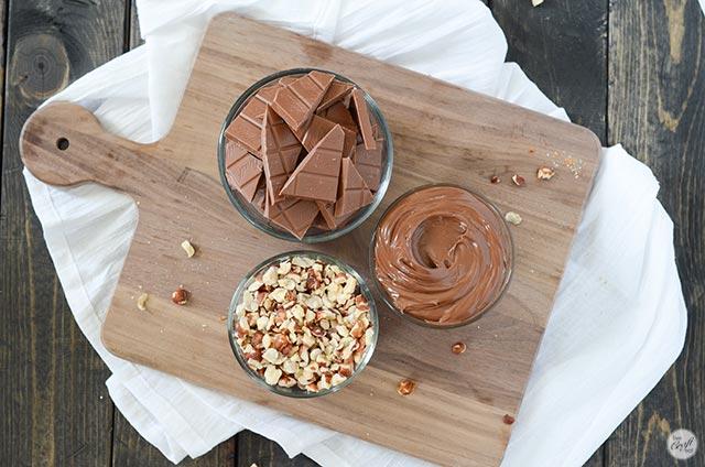 milk chocolate, nutella, and chopped hazelnuts