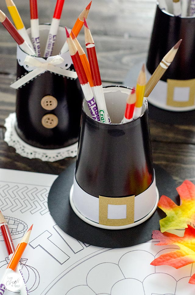 thanksgiving pilgrim crayon/colored pencil cup holder