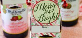 printable christmas-themed bottle tags