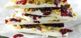 white chocolate bark with cranberries and pistachios