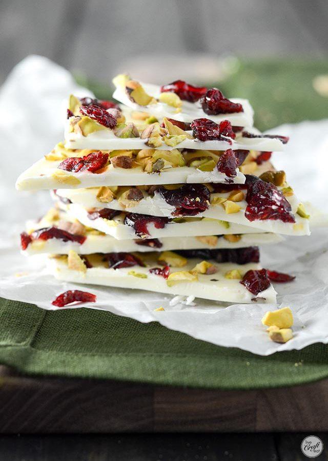 white chocolate, cranberry, and pistachio bark