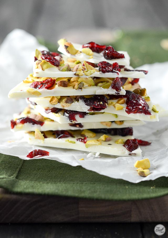 white chocolate, cranberry, and pistachio bark