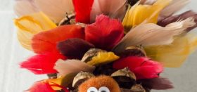 pinecone turkeys with silk feathers :: thanksgiving craft