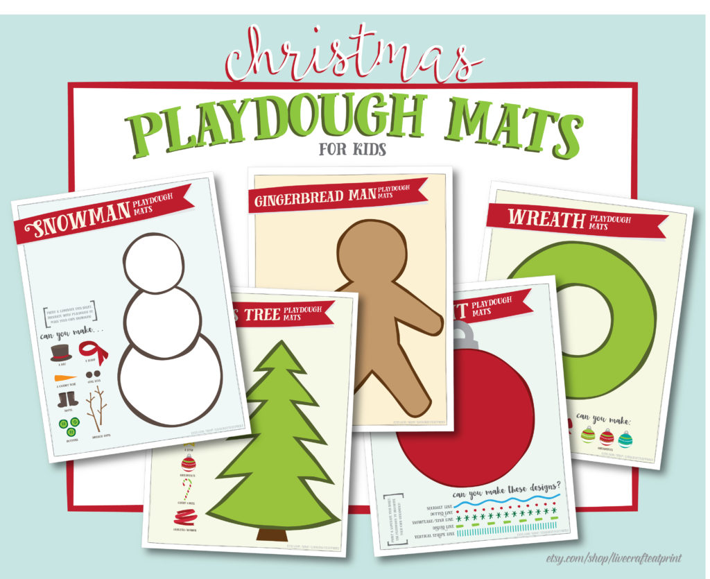 free printable playdough mats for christmas