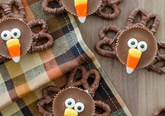 reese's peanut butter cups + chocolate pretzel turkeys