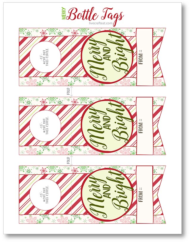 merry and bright bottle tags printable