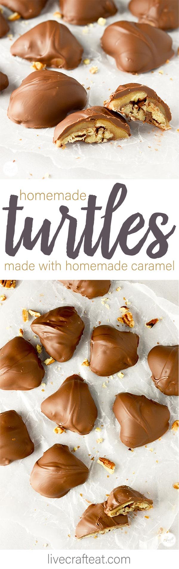 homemade turtles made with east homemade soft caramel