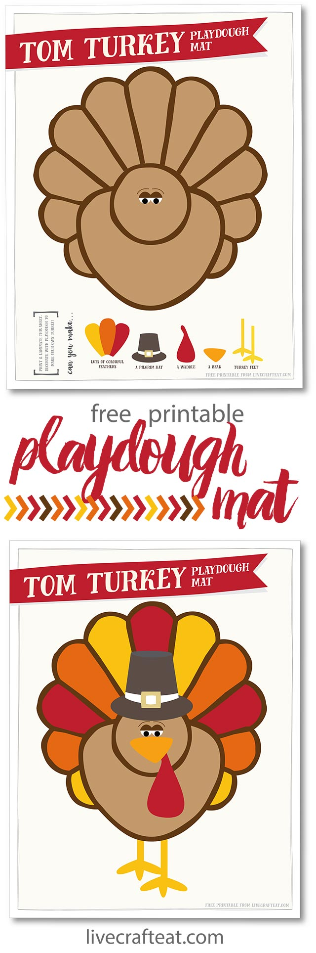 free printable thanksgiving turkey playdough mat