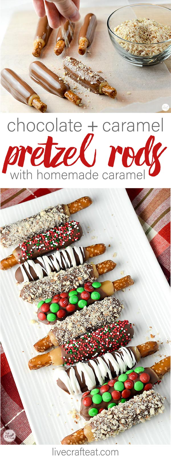 chocolate + caramel pretzel rods made with easy homemade caramel! these are the BEST!!!