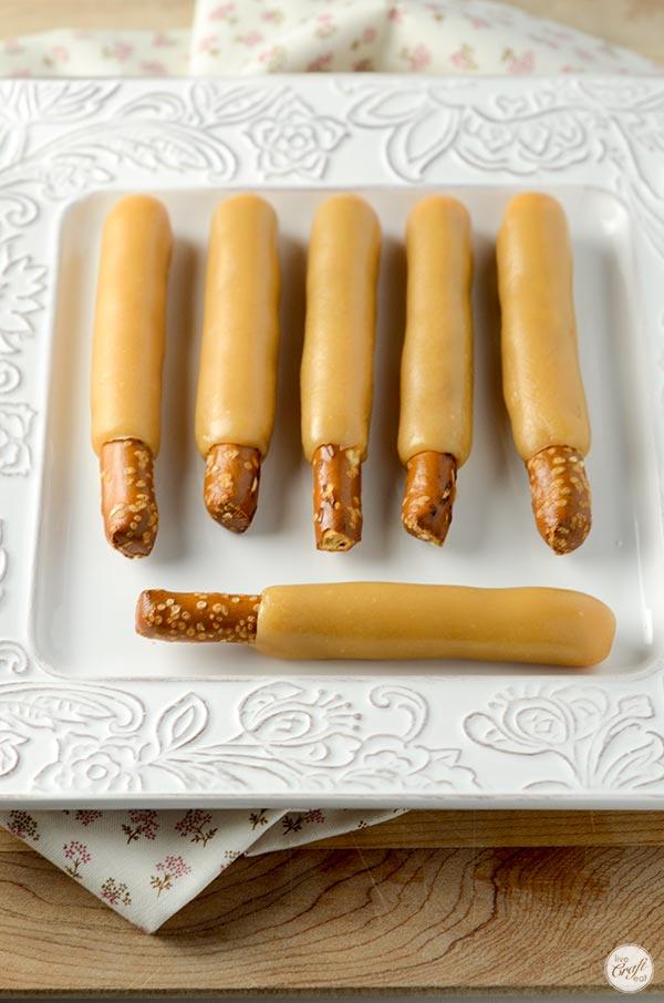 caramel-wrapped pretzel rods
