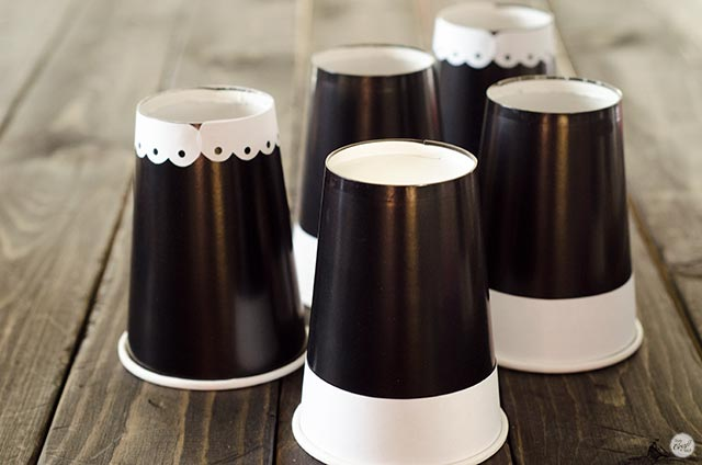 trim embellishments on pilgrim paper cup hats
