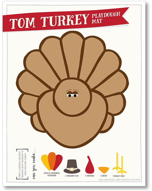 free printable turkey playdough mat - perfect for thanksgiving!