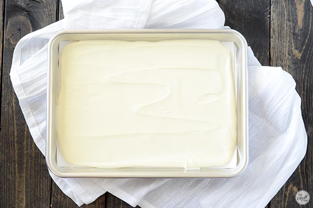 melted white chocolate layer