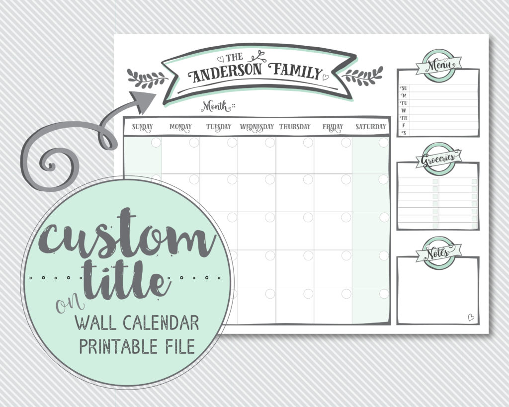 "custom 20""x16"" wall calendar"