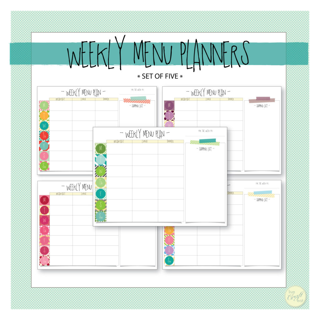 printable weekly menu planners