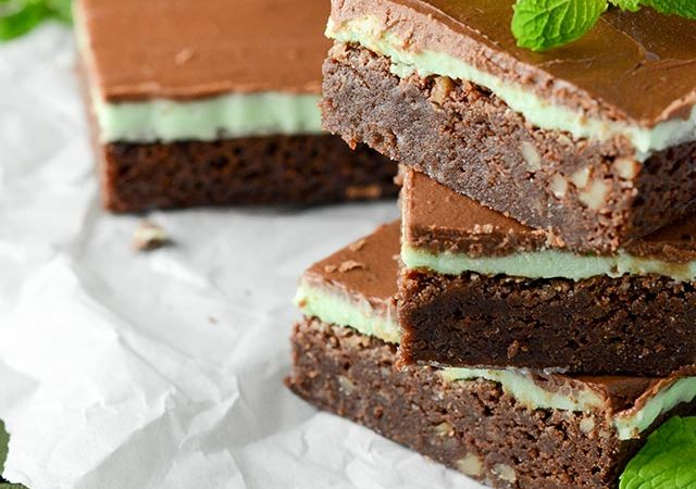 homemade mint brownies