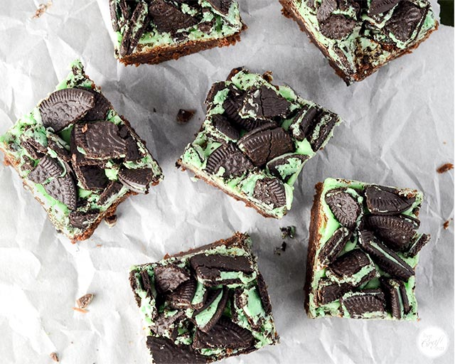 homemade mint brownies with mint oreo topping