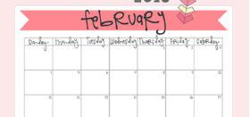 free printable monthly calendar :: february 2018