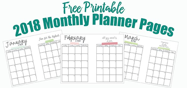 free printable 2018 monthly planner pages