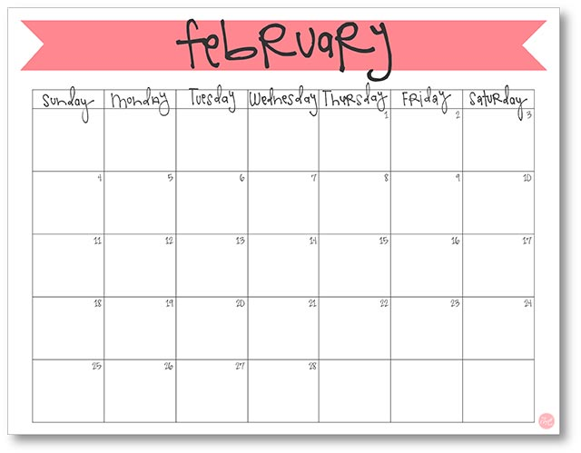 February  Calendar  Free Printable  Live Craft Eat