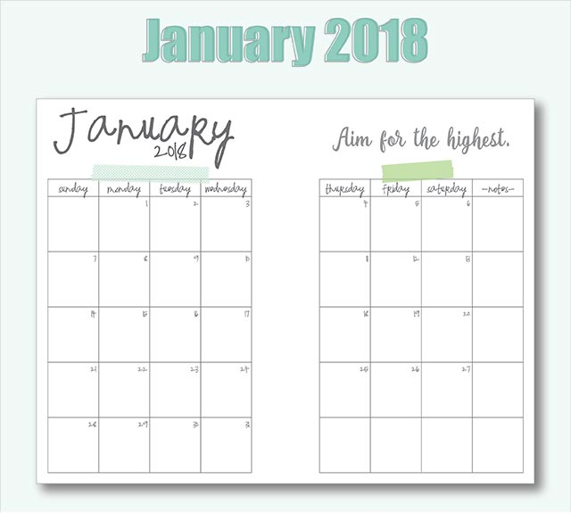 free printable 2018 a5 planner pages