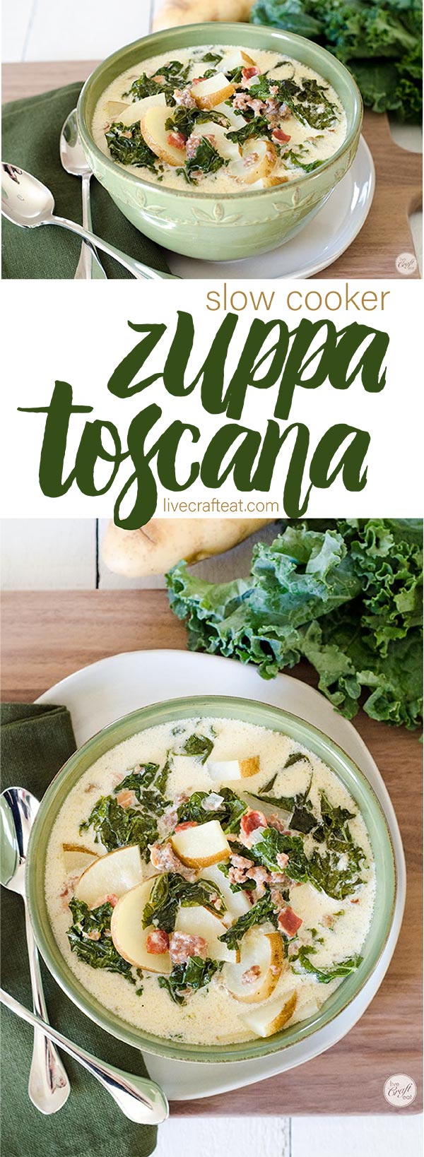 zuppa toscana :: the best soup for a cold winter day! a creamy soup with potatoes, sausage, and kale.