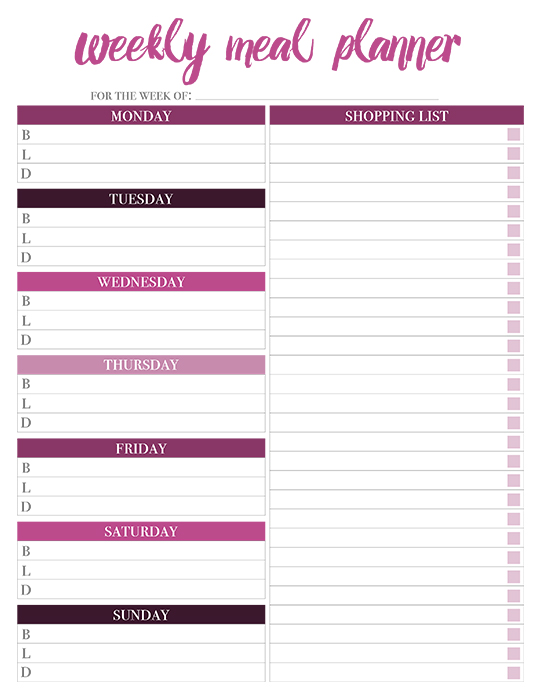 weekly meal planner with shopping list