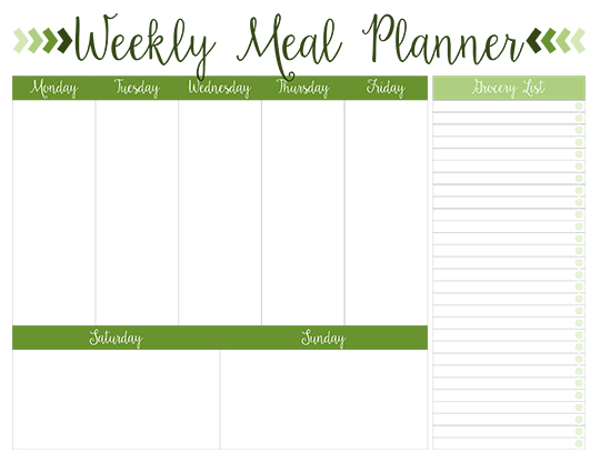 Weekly Meal Planner With Weekend Days