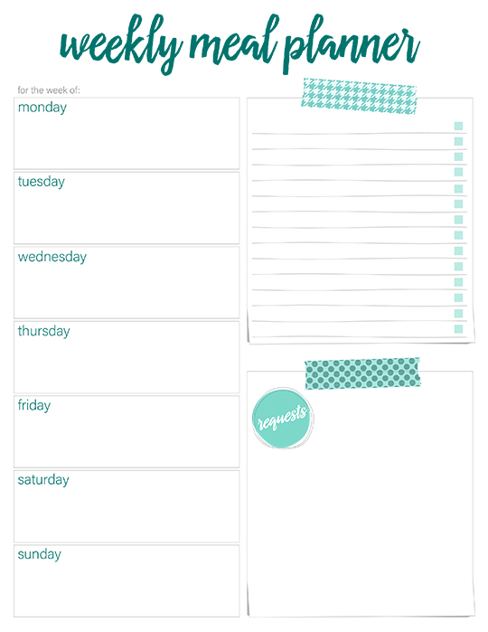 washi tape meal planner