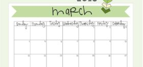 free printable monthly calendar :: march 2018
