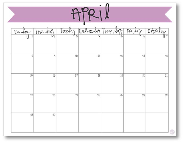 April  Calendar  Free Printable  Live Craft Eat