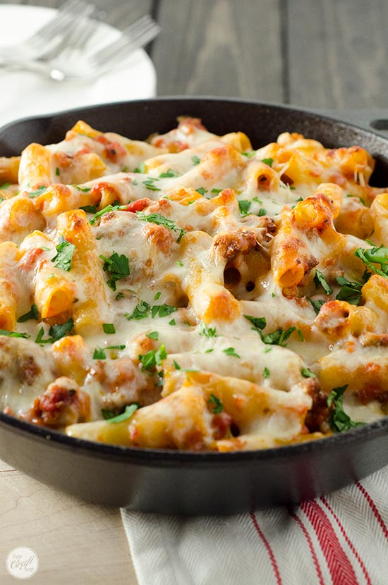 five-cheese baked ziti in cast iron skillet