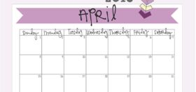 free printable monthly calendar :: april 2018