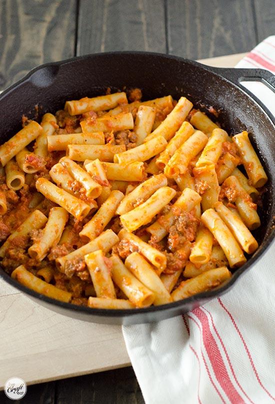 tomato cream + italian sausage sauce with ziti pasta