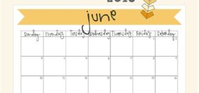 free printable monthly calendar :: june 2018