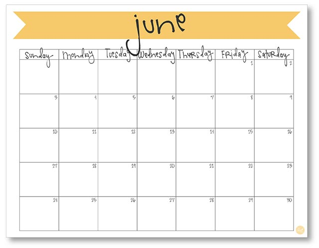 picture about Printable June titled June 2018 Calendar - No cost Printable Reside Craft Consume